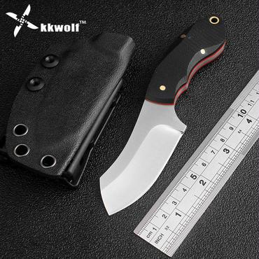Kkwolf屋外サバイバルハンティングナイフ9cr18mov刃タクティカルディフェンスマルチポケットツールナイフブラック10g