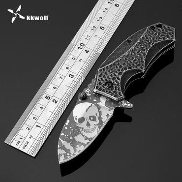 Kkwolfミニスカル柄ポケットナイフ440c折りたたみナイフサバイバルキャンプナイフ