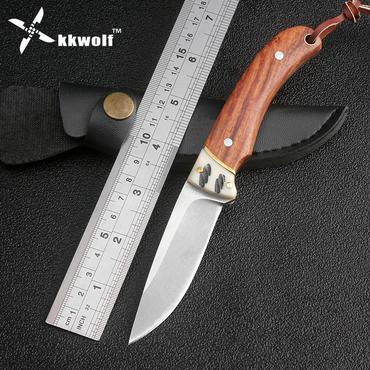 Kkwolf固定刃ナイフキャンプナイフ多機能ダイビング戦術ナイフ木材+骨ハンドル