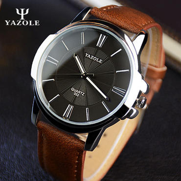 Yazole ファッション クォーツ時計 メンズ 腕時計 海外トップブランド ビジネス ブラック×ブラウン