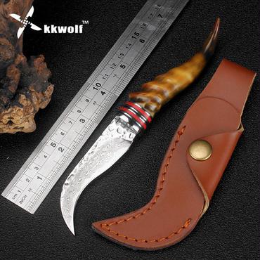 Kkwolf羊ホーンハンドルダマスカス鋼ナイフ高硬度