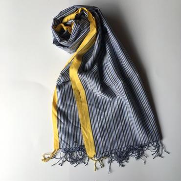 KHADI 手織り大判ストール BLUE STRIPE