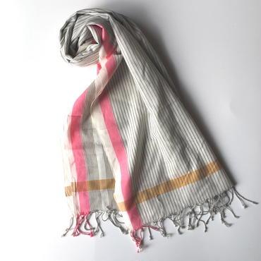 KHADI 手織りストール マルチストライプ