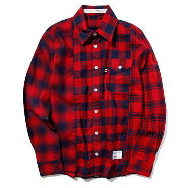 BLUE SAKURA - INDIGO CHECK SHIRTS CRAZZY (RED)