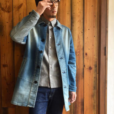 BLUE SAKURA KNIT DENIM SHOP COAT