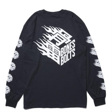 BONES AND BOLTS - L/S TEE (FLAMES BOX LOGO) ブラック