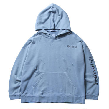 LIBERAIDERS - DAMAGED PULLOVER HOODIE (ブルー)