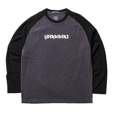 LIBERAIDERS - METAL ロゴ ラグラン L/S TEE (ブラック)