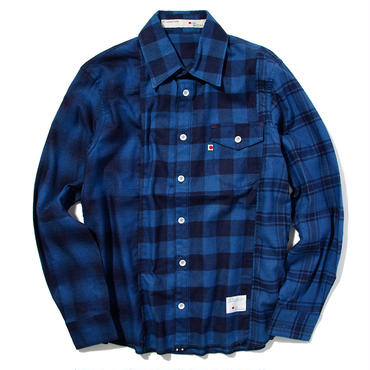 BLUE SAKURA - INDIGO CHECK SHIRTS CRAZZY (BLUE)