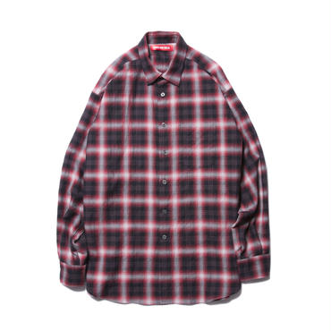 BONES AND BOLTS - O.D. L/S SHIRT (OMBRE CHECK) レッド