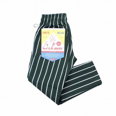 COOK WEAR - Chef Pants キッズ「ストライプ」ダークグリーン