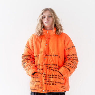 "EV BRAVADO - ""DO YOU THINK I'M CRAZY"" ORANGE DOWN EMBROIDERED JACKET"