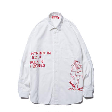 BONES AND BOLTS - O.D. L/S SHIRT (COMING AND GOING) ホワイト