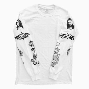 """R.H.C.P - """"アンソニーキーディス Tattoo"""" Tシャツ L/S   (ホワイト)"""