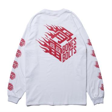 BONES AND BOLTS - L/S TEE (FLAMES BOX LOGO) ホワイト