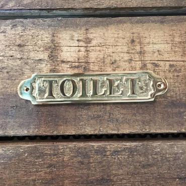 """サインプレート""""TOILET"""" 真鍮磨き仕上げ"""