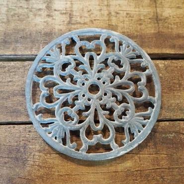 フォント ラウンド 鋳物鍋敷き グレー