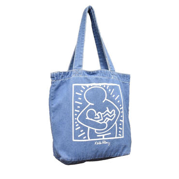 KEITH HARING MOTHER AND CILD CENTER DENIM TOTE