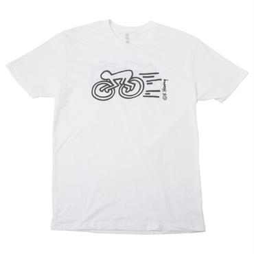 "Keith Haring Unisex T-Shirts ""Speed Bicycle "" White キース・ヘリング ユニセックス Tシャツ ホワイト"