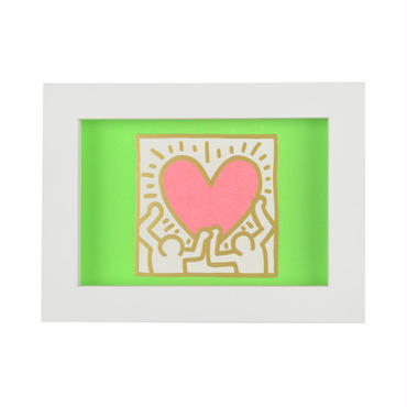 Framed Embossed Postcard  額装ポストカード  箔押し (Holding Heart)