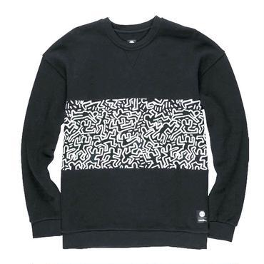 ELEMENT  Keith Haring  Panel Crew SweatShirts Black