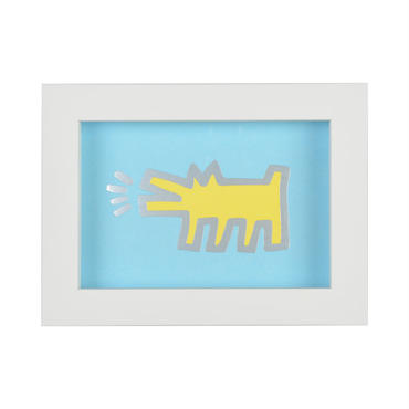 Framed Embossed Postcard  額装ポストカード  箔押し (Barking Dog)