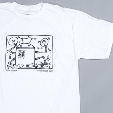 Turntable Lab Robot DJ T-Shirt 【White】