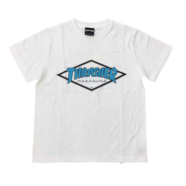 "Keith Haring × THRASHER Unisex T-Shirts ""Skater ""  White × Blue"