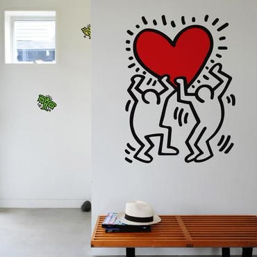 BLIK  Keith Haring  Holding Heart Wall Sticker