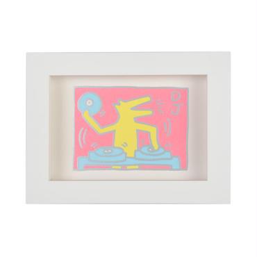 Framed Embossed Postcard  額装ポストカード  箔押し (DJ Dog)