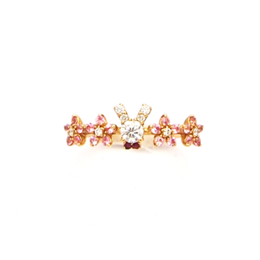 ぷちうさぎ(ダイヤ)&お花(ピンクサファイヤ)