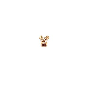 くま ブラウンダイヤ&ブラックダイヤ ピアス(方耳)