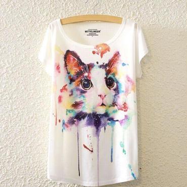 水彩画風ネコちゃんTシャツ(半袖)