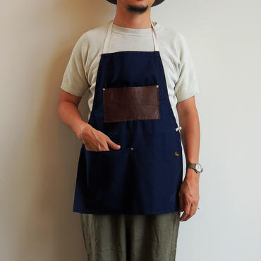 06 LEATHER POCKET APRON_NAVY