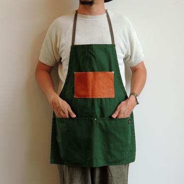 06 LETHER POCKET APRON_GREEN