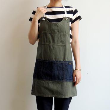 08 MAKERS FULL APRON_KHAKI-VAT DYE HERRING BONE-