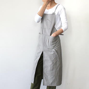 【直営店限定】SPLIT APRON_STRIPE_GRAY