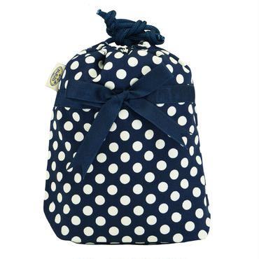 NaRaYa(ナラヤ) 巾着袋ポーチ(ランジェリーポーチ トラベルポーチ)・ネイビーミニドット (NB-258/S)