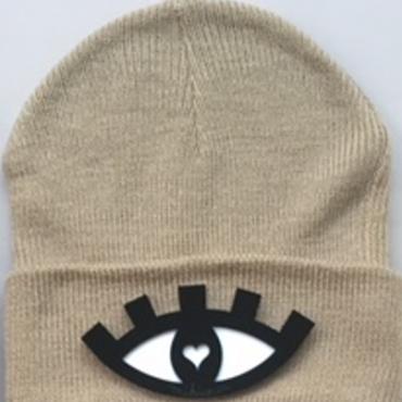 Eye Beanie(beige)  Mikwuu オリジナル ニット帽