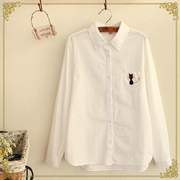 シャツ 遊び心・猫/ねこ/ネコ/にゃんこ型パッチポケット 長袖【ホワイト/白色】【S/M/L】