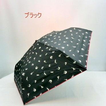 【晴雨兼用】【折りたたみ傘】UVカット99%超軽量ネコ柄晴雨兼用丸ミニ折傘
