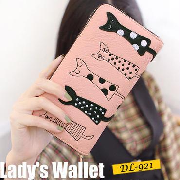 【ピンク他全4色】かわいい猫ちゃん 長財布 レディース