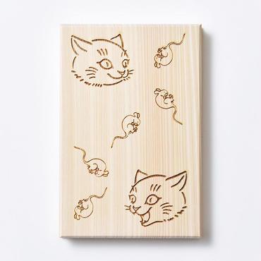 御朱印帳 阿吽 桧 木製 大判 猫 鼠 *鳥の子紙 白奉書紙