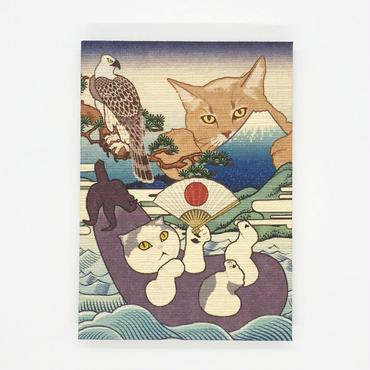 猫託 御朱印帳 M判*鳥の子紙 白奉書紙