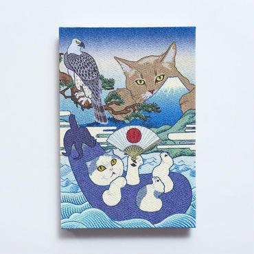 猫託 御朱印帳 L判*鳥の子紙 白奉書紙