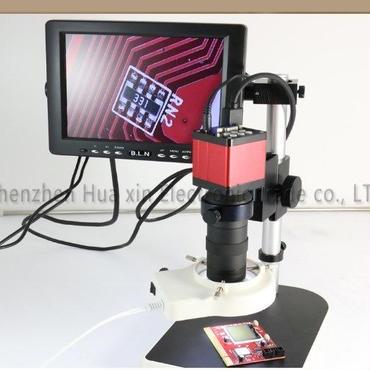 ビデオマイクロスコープ 13メガピクセルHDMI VGA 工業顕微鏡カメラ+ 130Xレンズ+ LEDライト+スタンドホルダー+ ; LCDモニタ