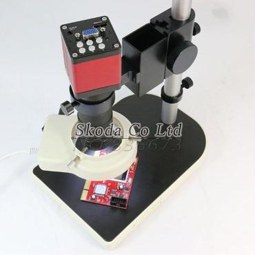 ビデオマイクロスコープ 13メガピクセル HD 60F / S HDMI VGA 工業顕微鏡カメラ 130X Cマウントレンズ 56 LEDリングライト セット
