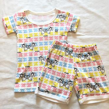 marble 半袖パジャマ ネコ