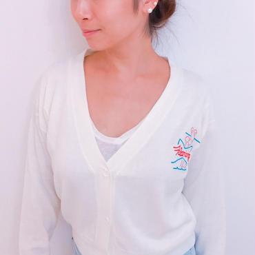 フランミンゴ刺繍カーディガン