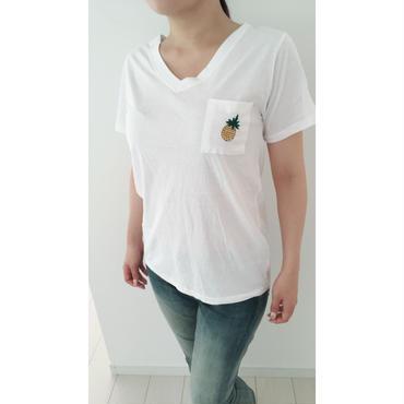 パイナップル刺繍Tシャツ
